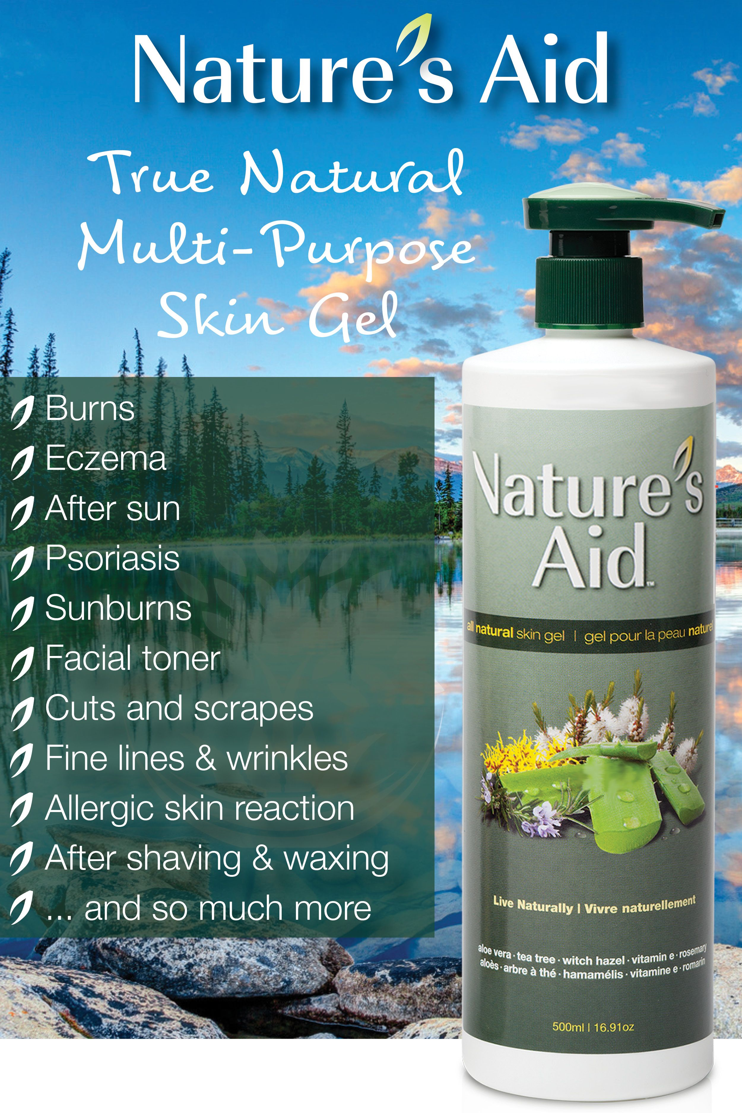 Natural Multi Purpose Skin Gel 500ml 16 9oz Skin Gel Skin Care Toner Products Dry Skin Eczema