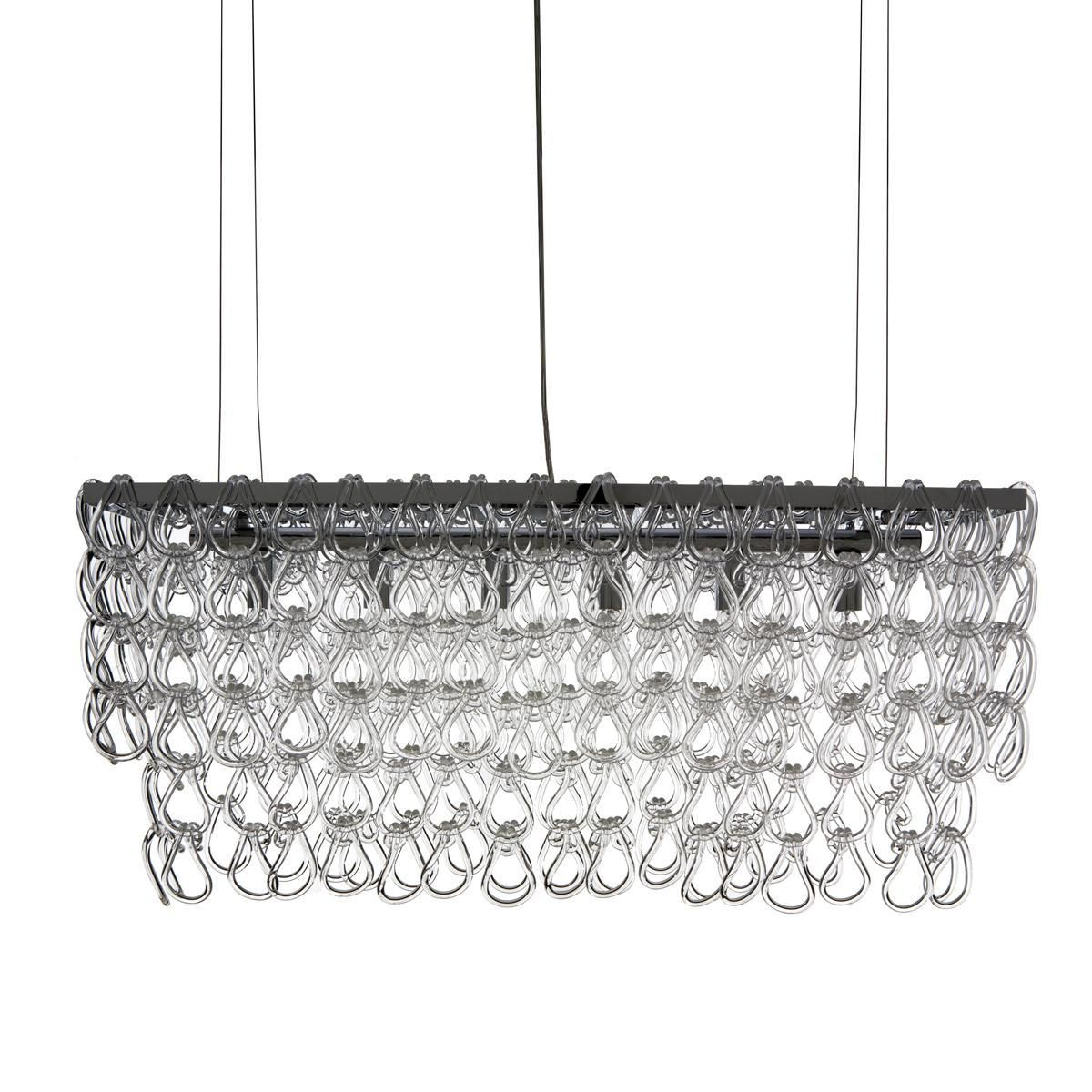 Glass Chain Island Chandelier Available At Shadesoflight Com Glass Chain Links Hang From Chrom Pendant Lamp Hanging Pendant Lights Contemporary Pendant Lights