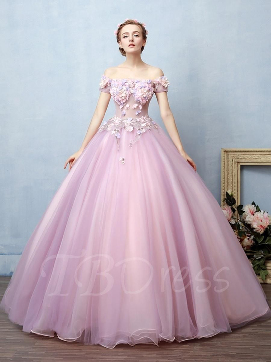 Appliques flowers offtheshoulder quinceanera dress in ball