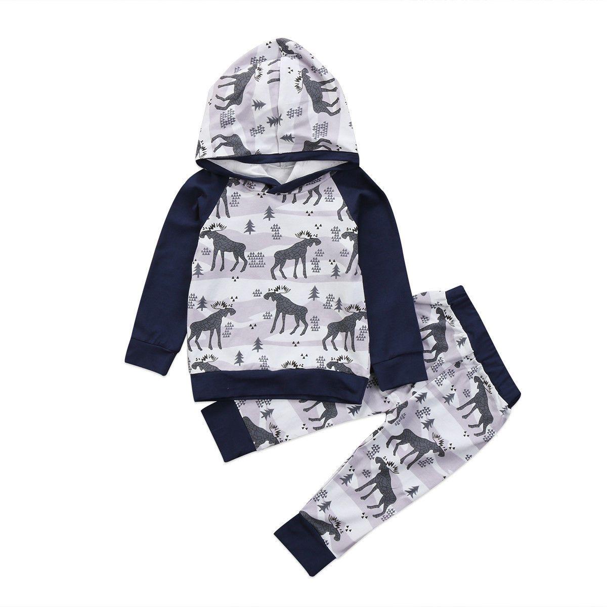38e364cae Christmas Baby Boys Long Sleeve T-shirt Pants Leggings Outfits 2PCS Clothes  Set Warm Winter Hooded Coat 0-24M #ChristmasOutfit