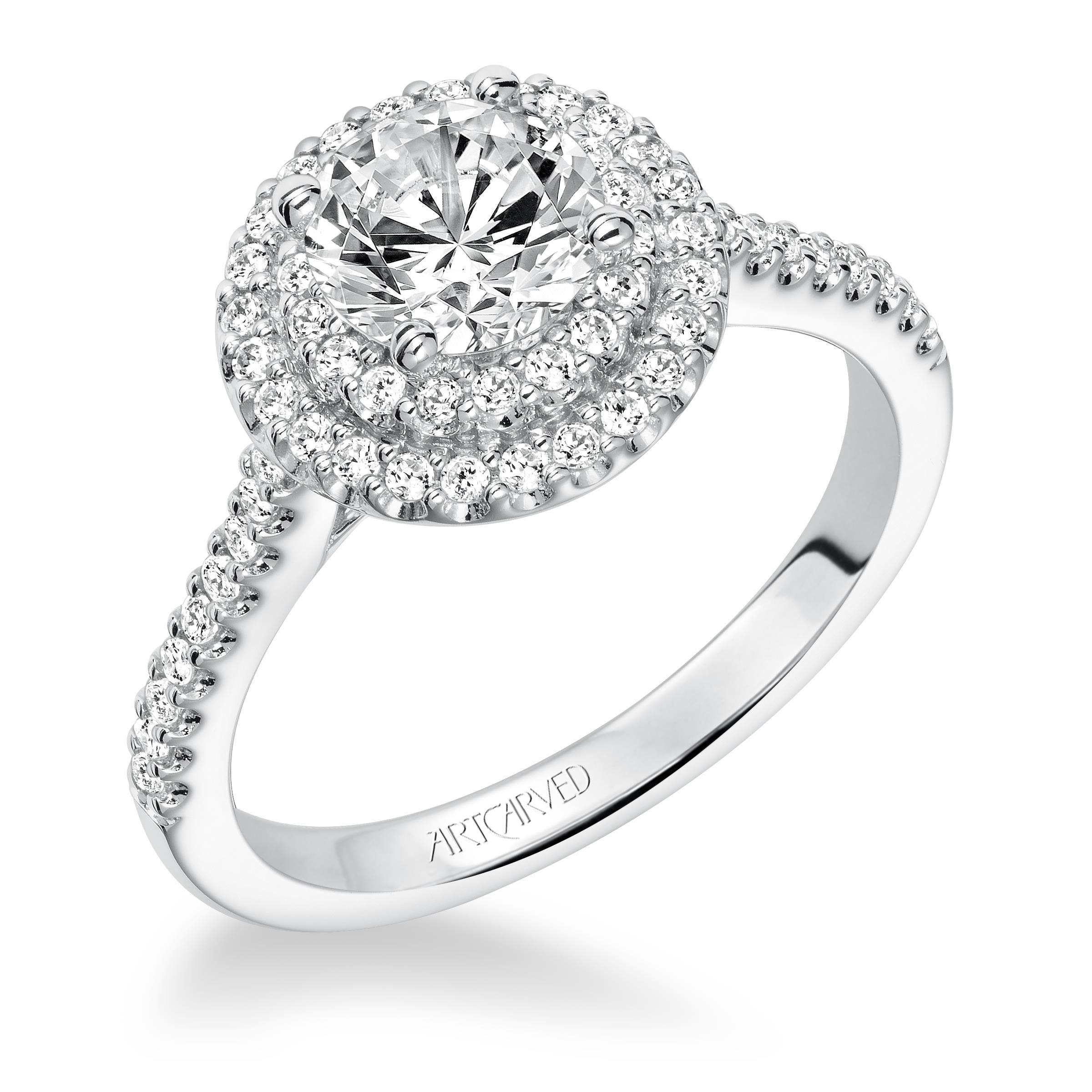 White Gold Double Halo Engagement Ring Round halo