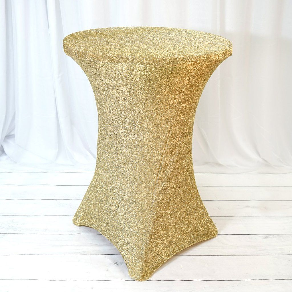 Champagne Metallic Shiny Glittered Spandex Cocktail Table Cover Cocktail Tables Table Cloth Table Covers