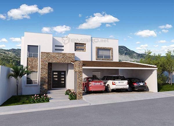Fachada de casa triple cochera fachadas pinterest for Casas modernas renders