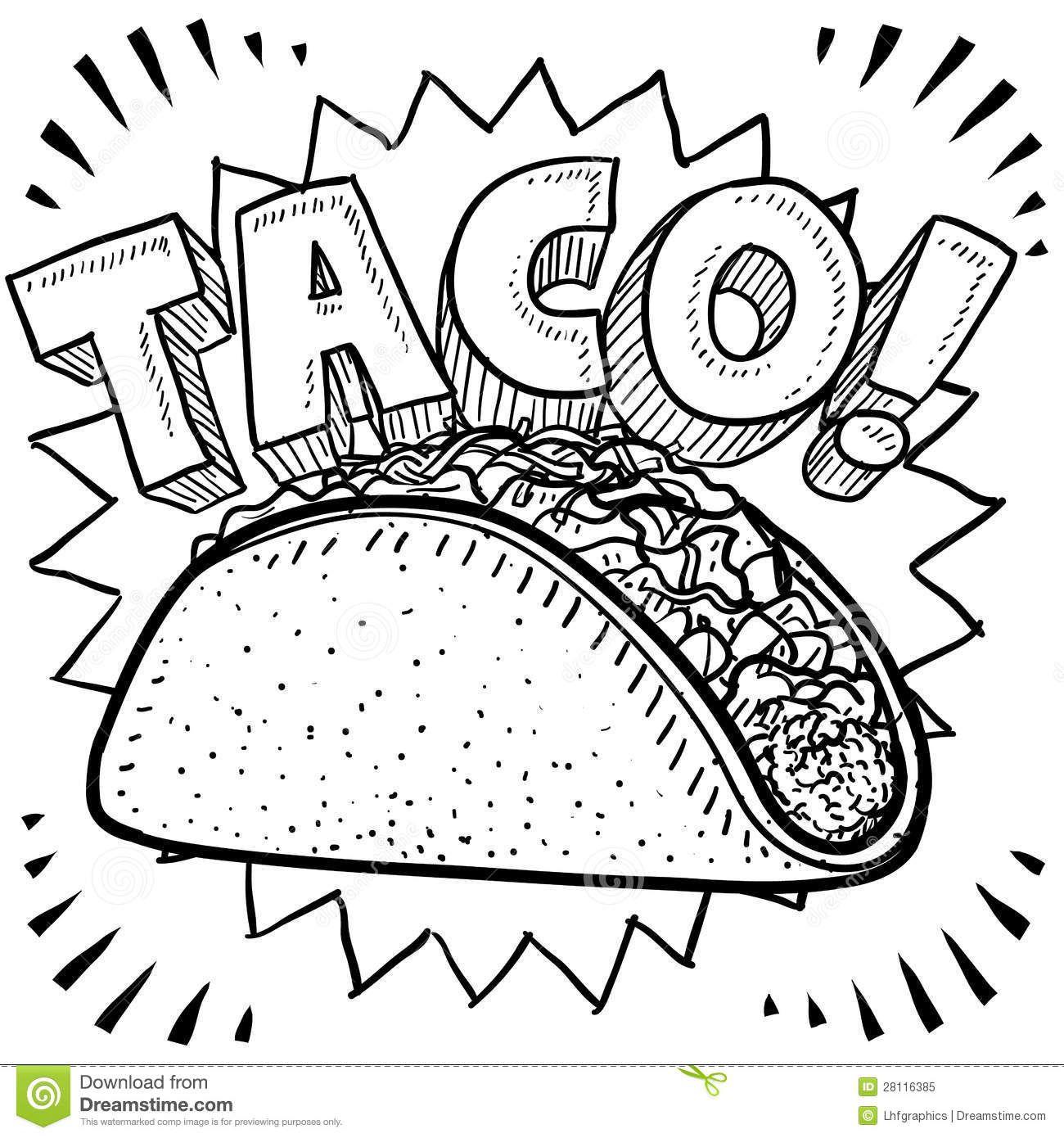 Download taco-sketch-28116385.jpg (1300×1390) | Taco drawing, Food ...