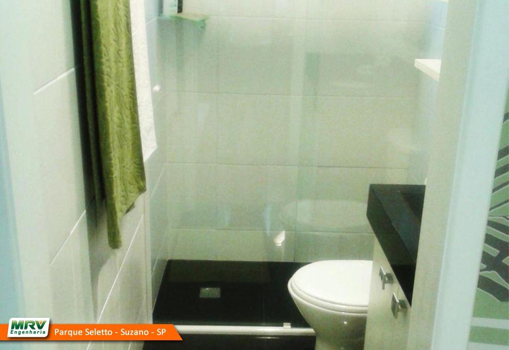 Apartamento decorado 2 dormitórios do Parque Seletto no bairro Casa Bransa - Suzano - SP- MRV Engenharia - Banheiro