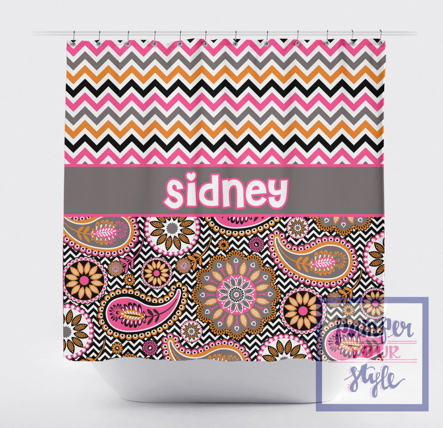 Chevron And Paisley Monogrammed Shower Curtain