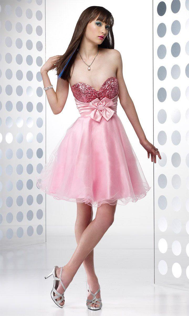 Admirable sweetheart neckline paillette pink satin flower mini prom