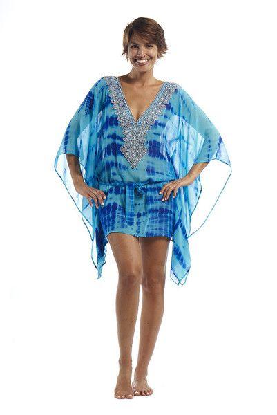 9c65229ee6 Embellished silk georgette kaftan with tie string waist, turquoise/blue