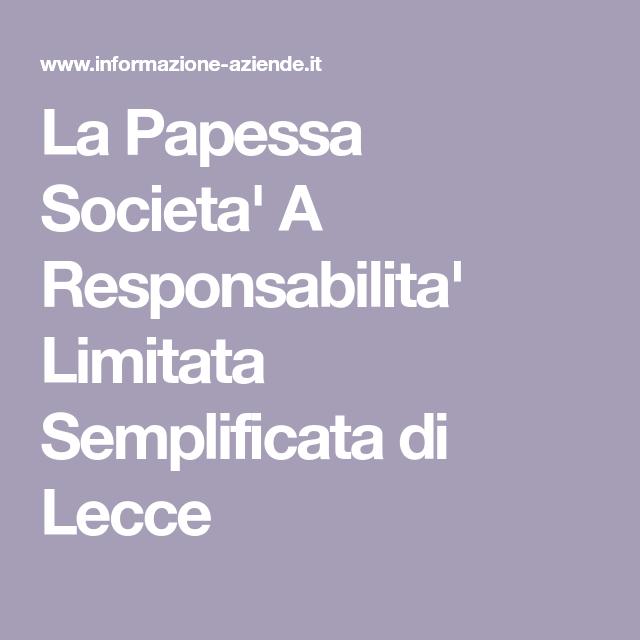 La Papessa Societa A Responsabilita Limitata Semplificata Di