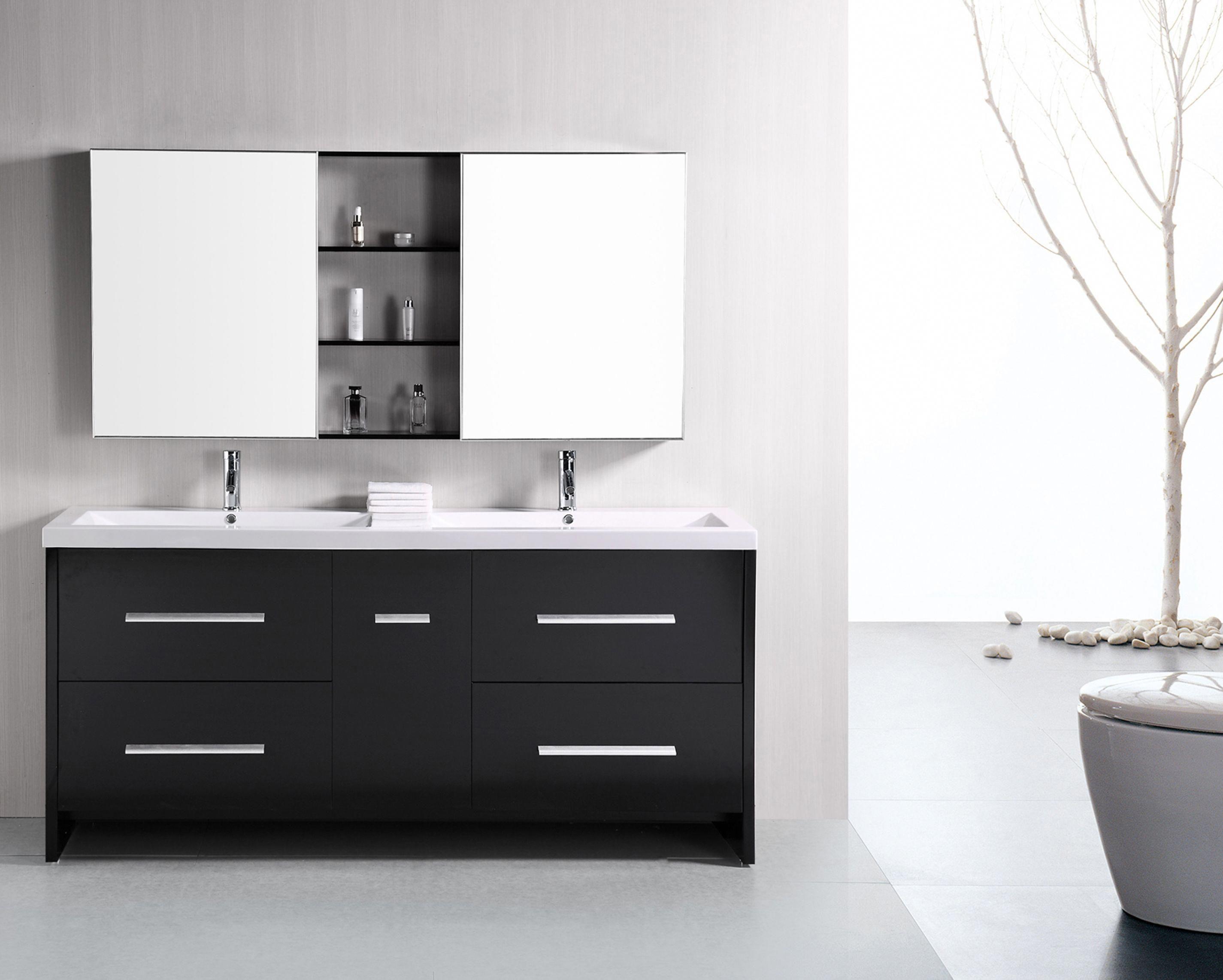Design Element Perfecta 72 Double Sink Vanity Set In Espresso