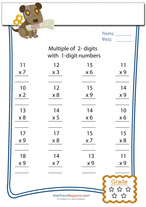 2 Digit Multiplied by 1 Digit Worksheet - #4 | Multiplication ...