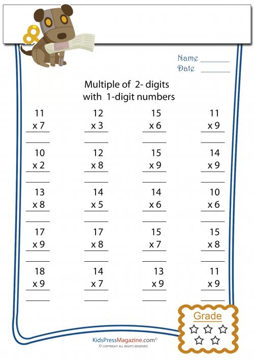 2 Digit Multiplied by 1 Digit Worksheet 4 – Multiplication 2 Digit by 1 Digit Worksheets