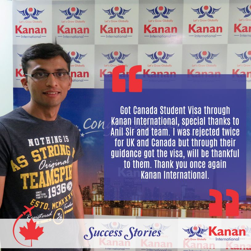 Studying in the country and college of your dreams is a possibility with Kanan International!  Take the example of Vikas Patel! After facing rejection twice we helped him get his #studentvisa for #Canada.