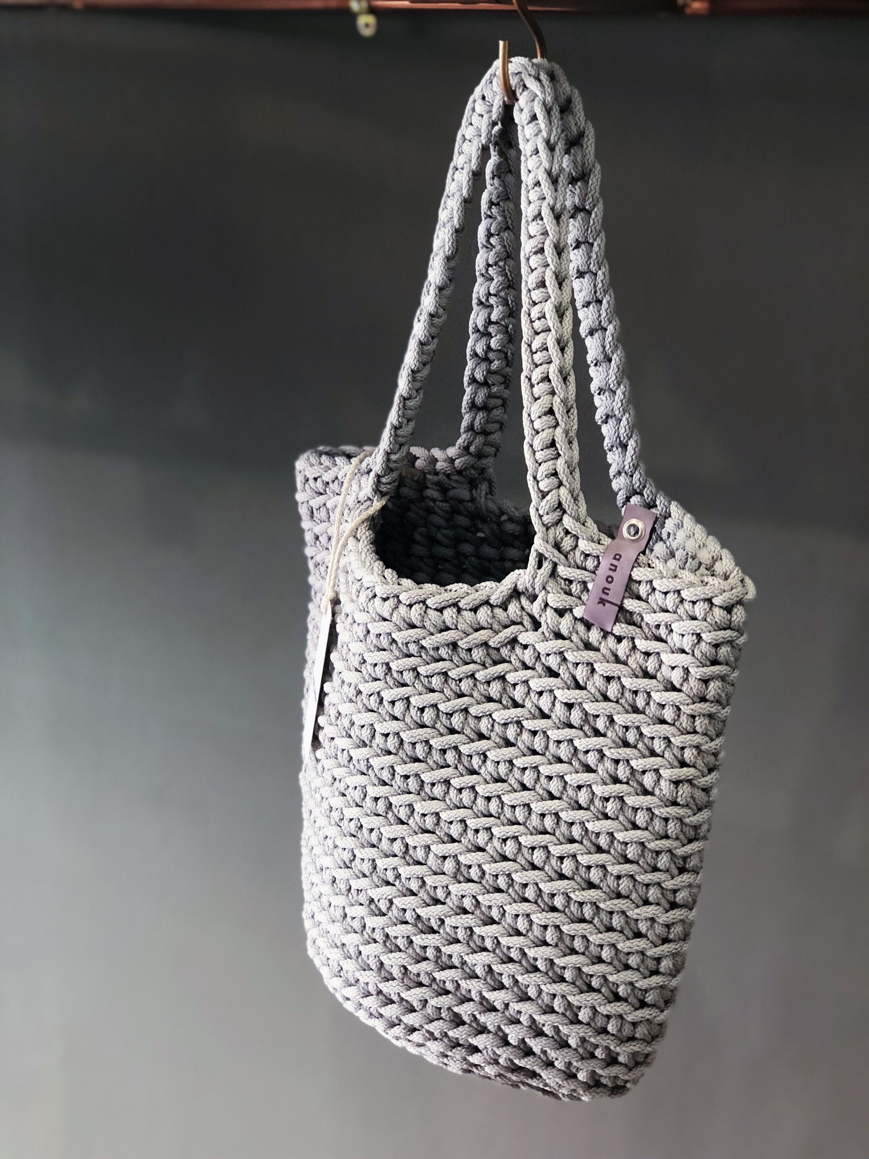 handmade crochet purse with recycled cotton crochet handbag in neutral cotton,READY TO SHIP Crochet natural tote