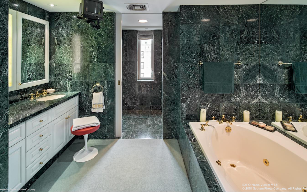 And The Master Bath Is Covered In Beautiful Dark Green Marble Green Marble Bathroom Marble Tile Bathroom Marble Bathroom