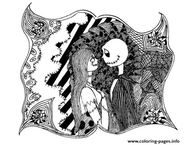 Print adult halloween the nightmare before christmas coloring