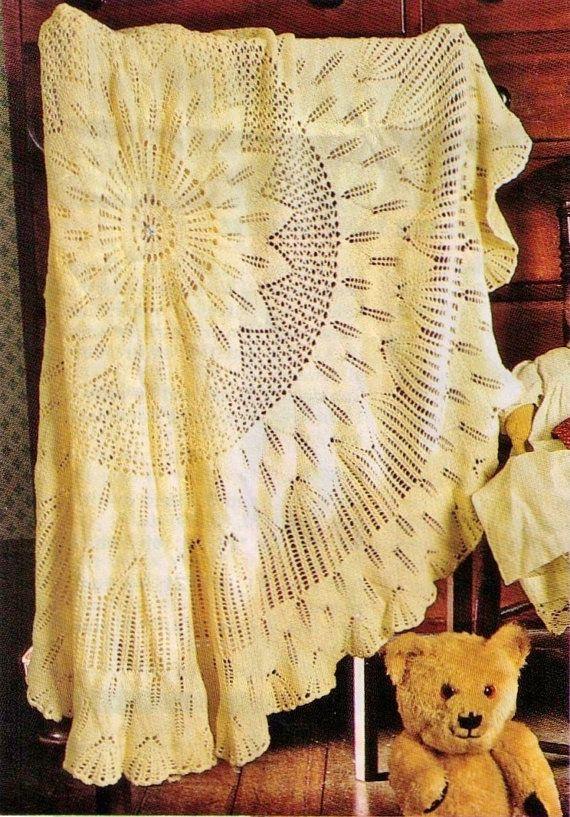 Baby Heirloom Vintage Shawl Blanket Rug Lacey Pattern By