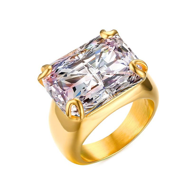 Luxury CZ Stone Ring for Women Square Zircon Rings Gold-color ...