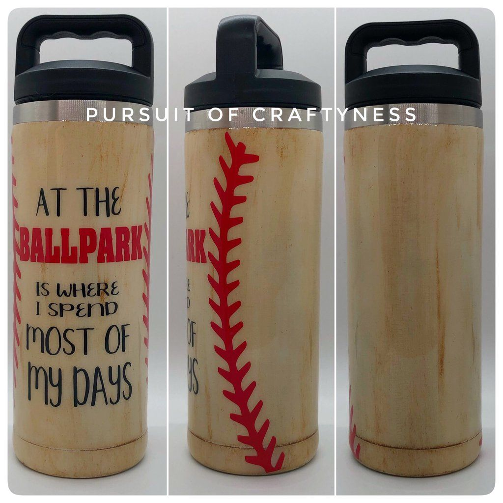 At The Ballpark Bottle Glitter Cups Custom Tumblers Personalized Cups