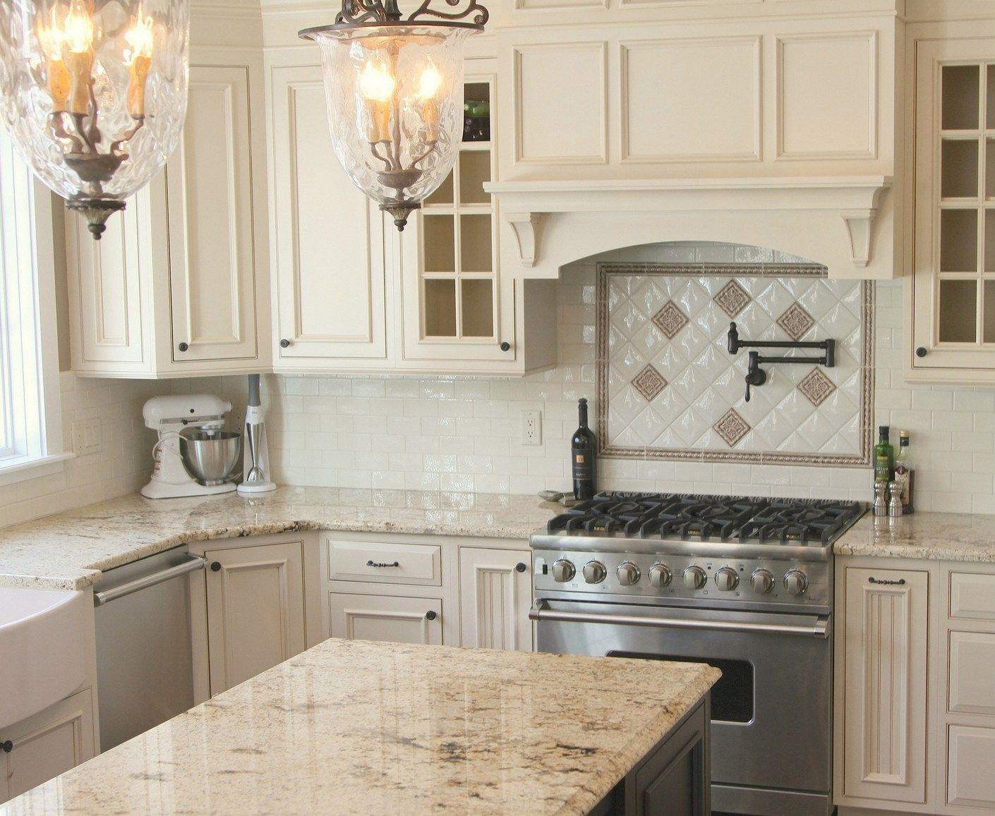 Simple and elegant cream colored kitchen cabinets design ideas