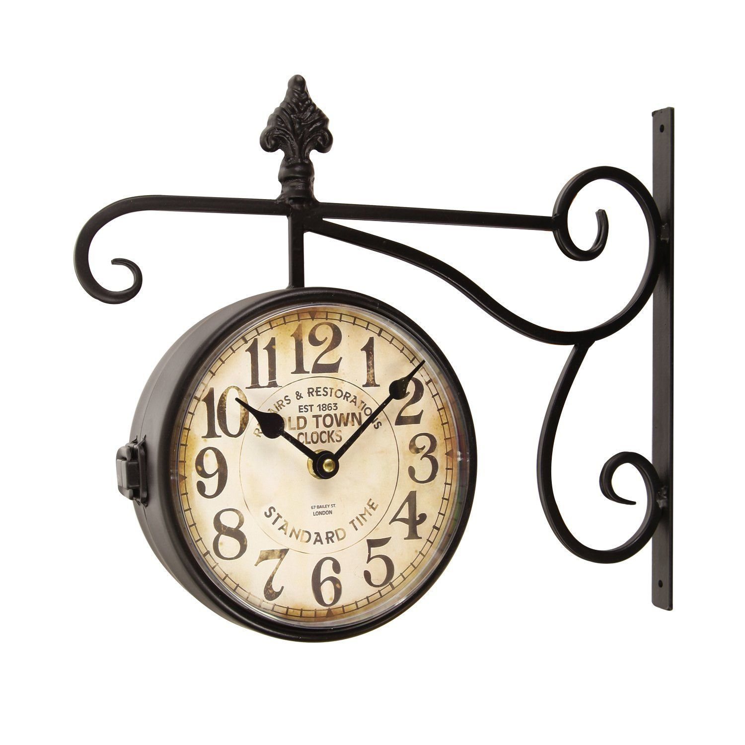 Amazon adeco wrought iron antique look brown round wall black iron vintage inspired double sided wall clock with scroll wall mount old town clocks amipublicfo Gallery