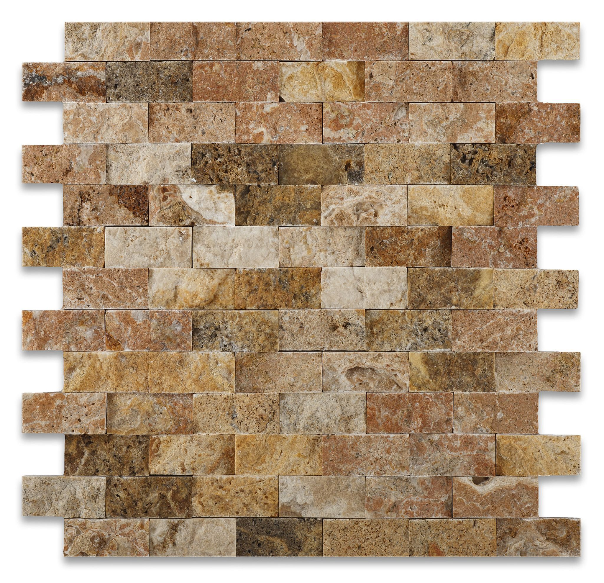 1 X 2 Scabos Travertine Split-Faced Brick Mosaic Tile | Travertine ...