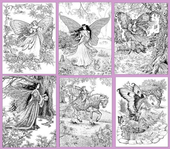 The World Of Fairies 24 Coloring Pages For Adults In A Pdf Etsy Fairy Coloring Book Coloring Pages Grayscale Coloring Books