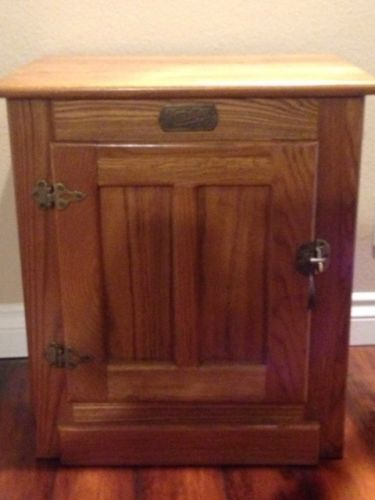 White Clad Icebox Reproduction Ice Box Oak Cabinet End Table W