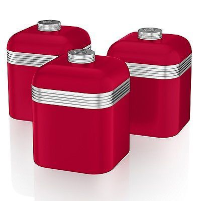 Swan Set Of 3 Tea Coffee Sugar Red Canisters Jar Kitchen Storage Containers Tin