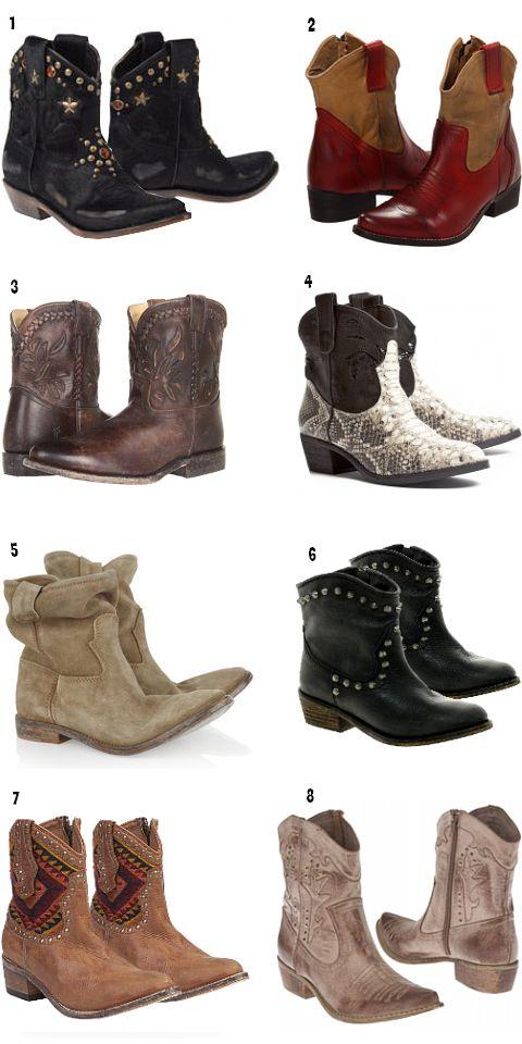 Women's short cowboy boots boho style