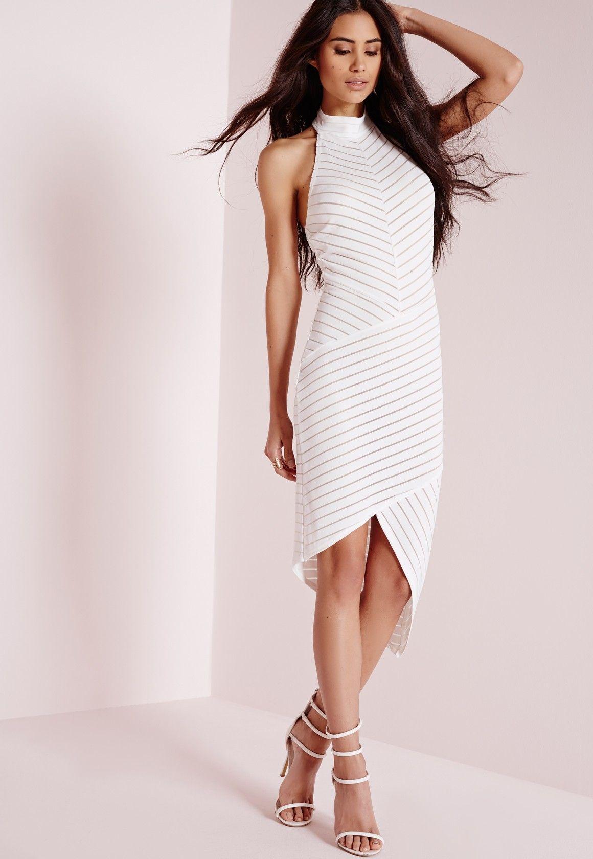 268c4066eb Missguided - Striped Mesh Sleeveless Bodycon Dress White