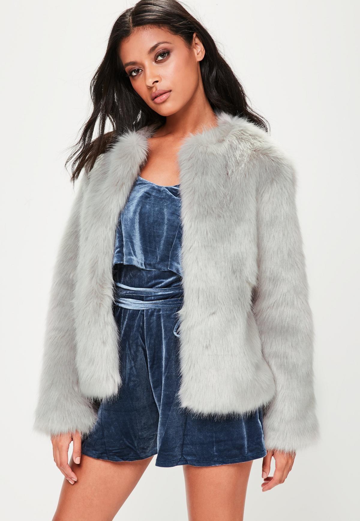 e70533642d6 Grey Collarless Faux Fur Coat | Wearable | Grey faux fur coat, Grey ...