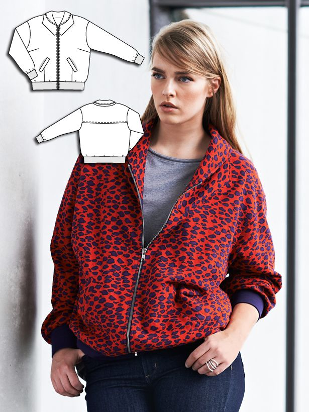 130dff605cc Bomber jacket Burda plus 10 14 133 Heavyweight knits