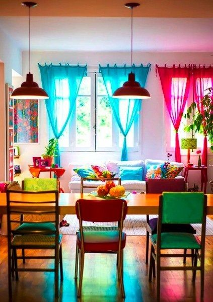 Casa colorida buscar con google espacios cortinas de for Decoracion de interiores estilo mexicano