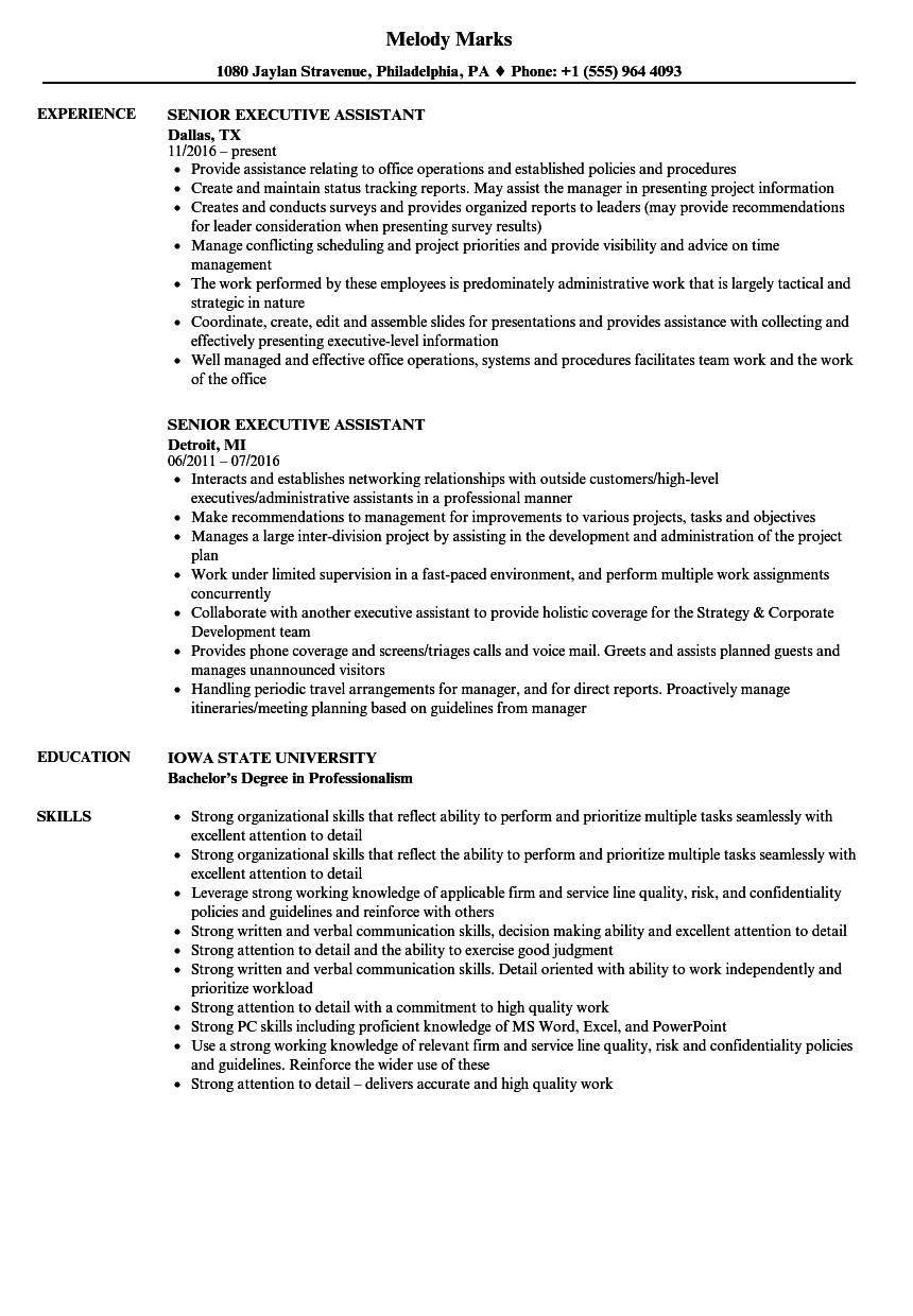 Executive Assistant Resume Samples in 2020 Engineering