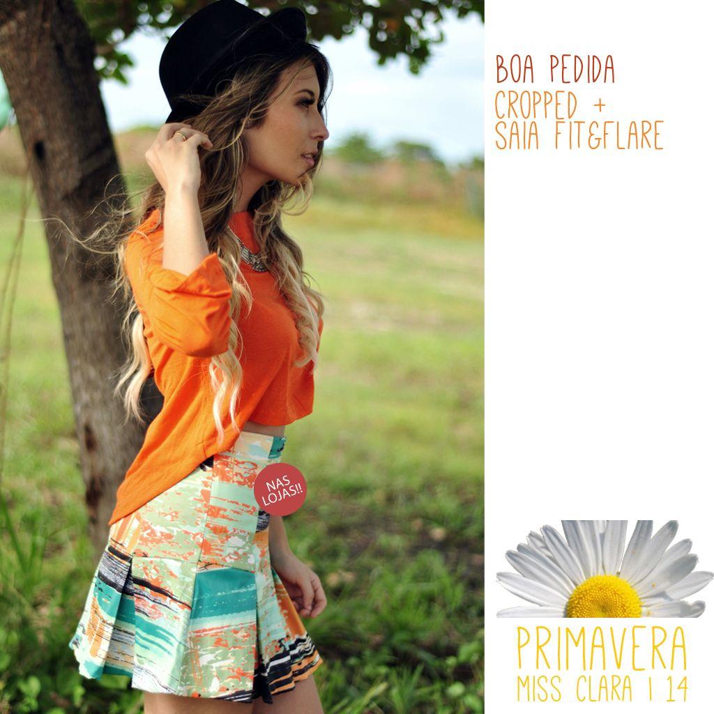 Cropped em malha lisa Saia neoprene modelagem fit&flare  #fit&flare #cropped