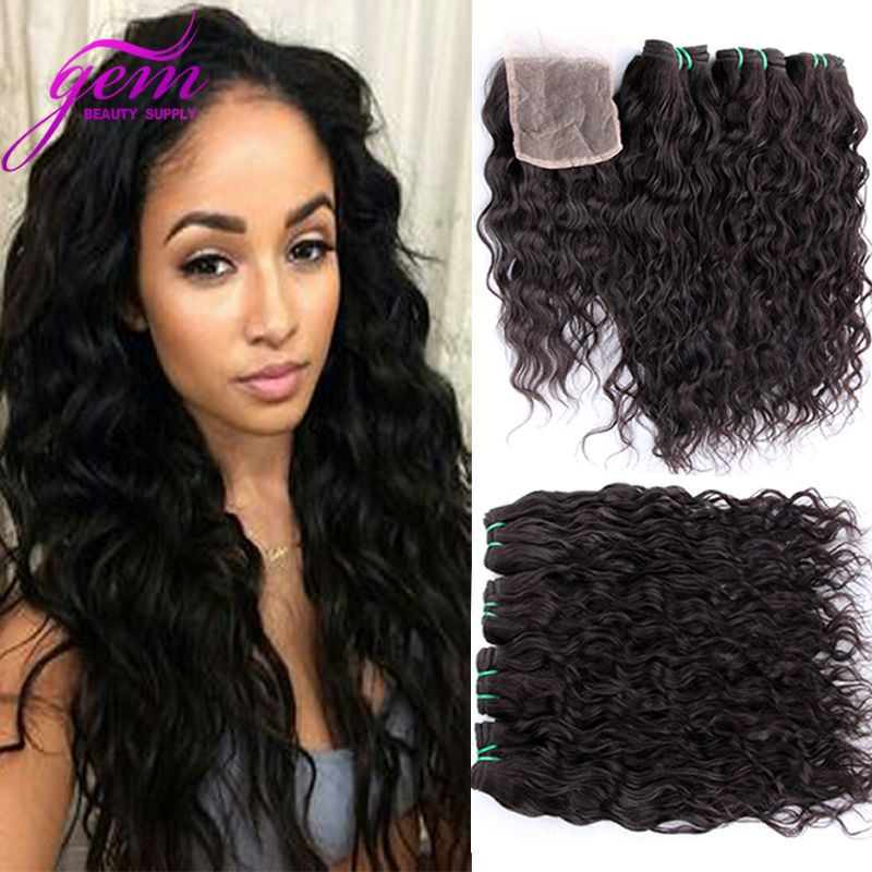 Indian Virgin Hair Water Wave With Lace Closure 4pcs Gem Beauty