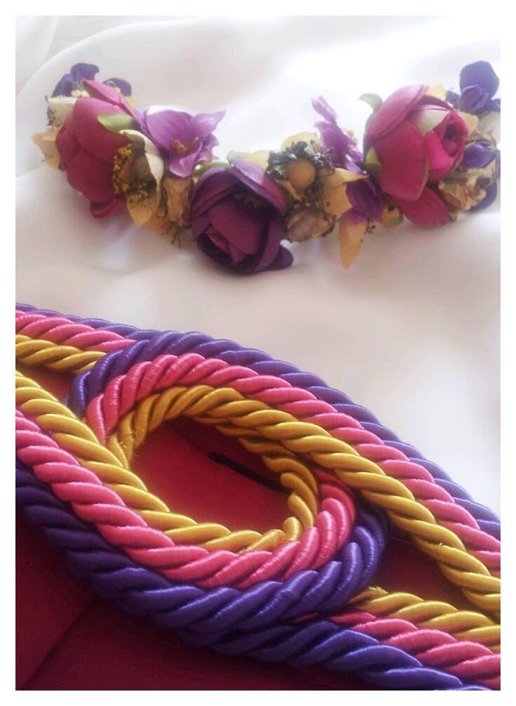 Cinturón en cordón de seda en fucsia, morado y oro