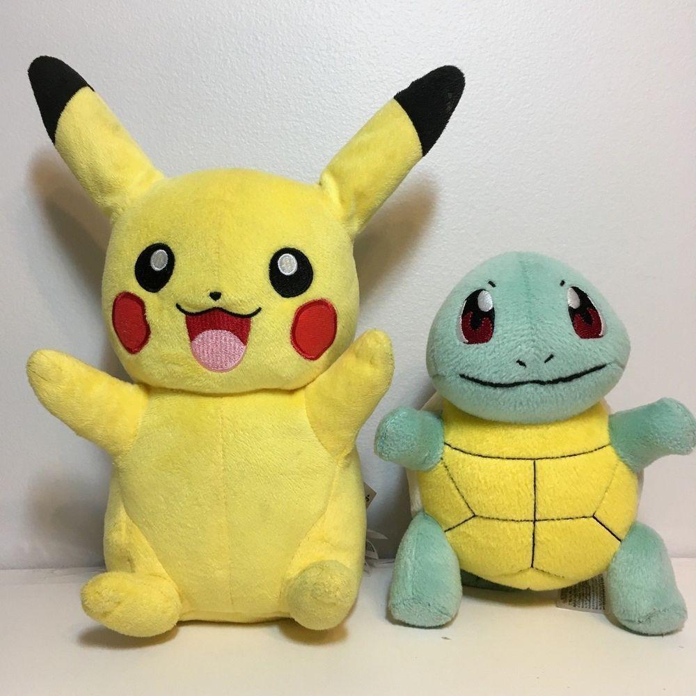 Pokemon TALKING Pikachu and Squirtle Plush Stuffed Animals