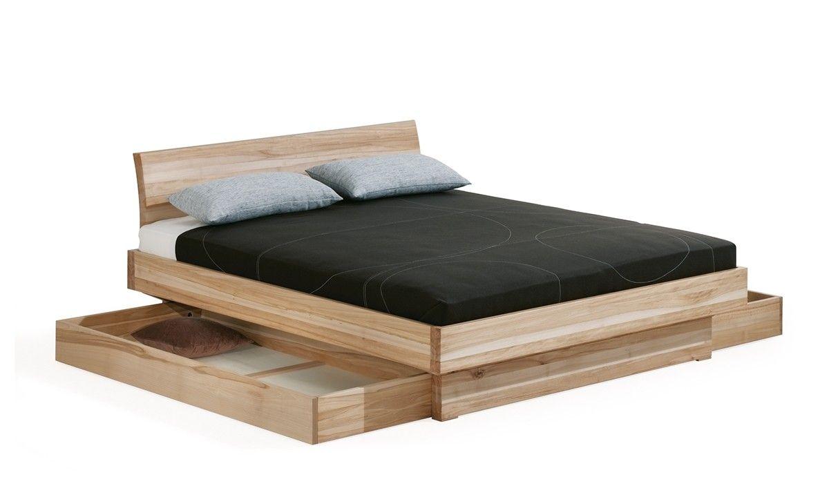 Dormiente Massivholzbett Morell mit 2 Bettkästen mit Kopflehne ...