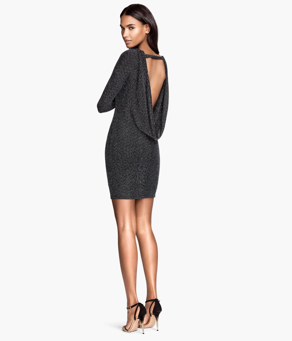 83c9bb6ec908 Short draped dress with long sleeves and black glittery pattern. Low-cut,  draped neckline at back.│ Party in H&M