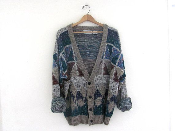 vintage 80s geometric cardigan sweater. by dirtybirdiesvintage, $26.00