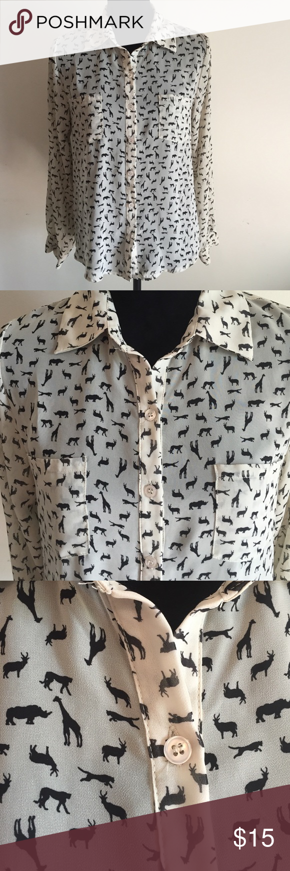 Safari anyone? Xhilaraion blouse! Size: Medium This serious yet playful Xhilaration blouse is long sleeved but sheer and light; could be worn in any season. For summer, pair with a tank and in colder months wear with a jacket for home or work. 100% polyester. Size: M. Xhilaration Tops Button Down Shirts