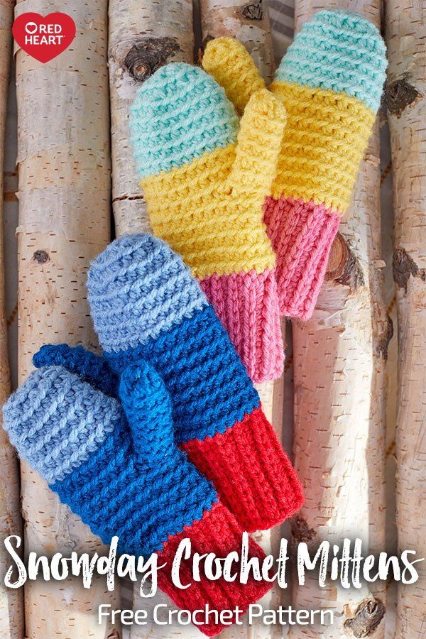 Snowday Crochet Mittens free crochet pattern in With Love yarn ...