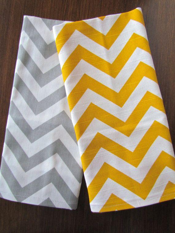 gray yellow tea towels set of 2 chevron tea towel gray. Black Bedroom Furniture Sets. Home Design Ideas