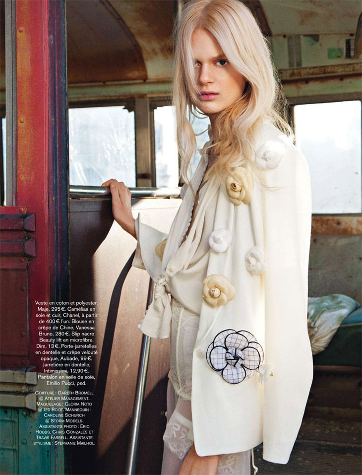 Magazine: Glamour France Issue: April 2013 Editorial: White Escape Model: Caroline Schurch |Storm Models| Stylist: Stephenie Mailhol Photographer: Hilary Walsh |Atelier Management|