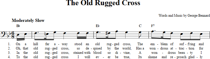 The Old Rugged Cross Sheet Music With Chords And Lyrics For Bass