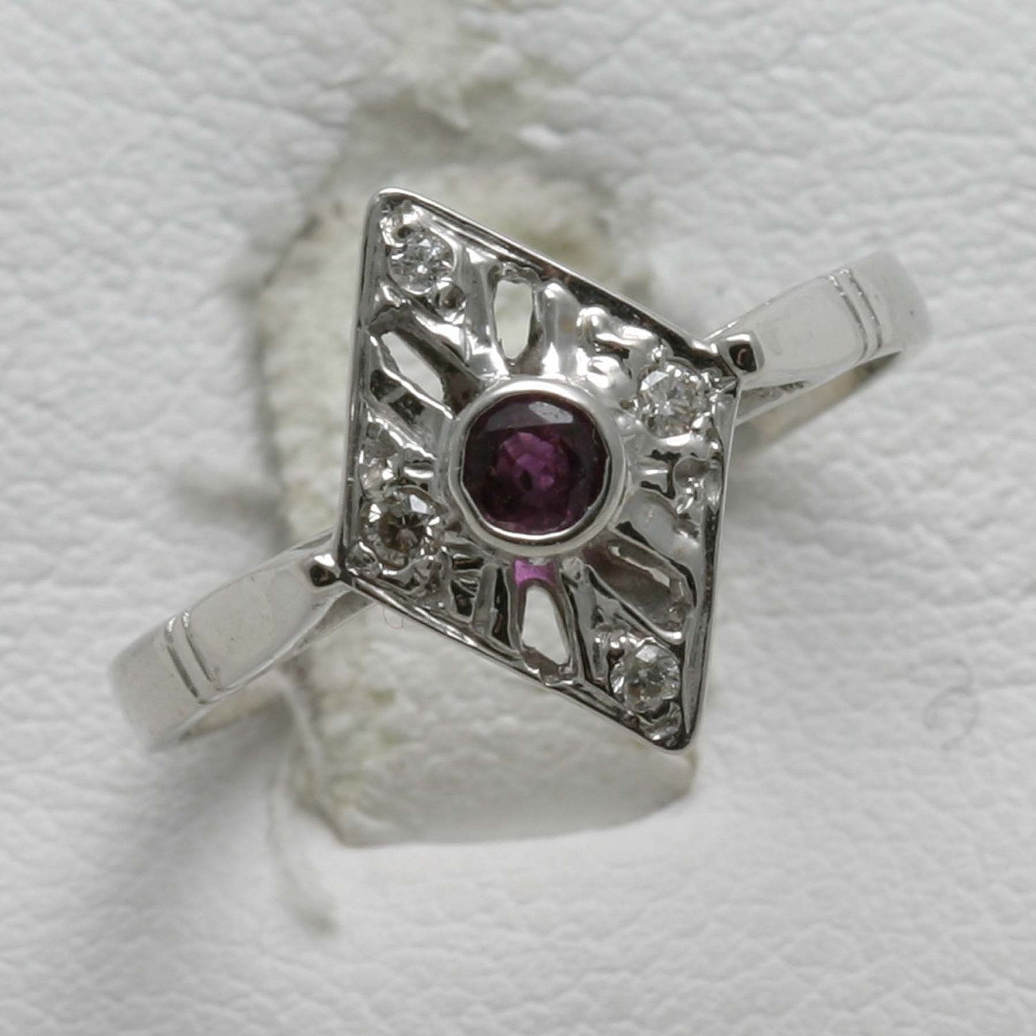1a4c66f0a Vintage 14k white gold Diamond & Ruby Ring Victorian Reproduction red.  $194.99, via Etsy.