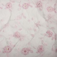 Pink Embroidered Flower Overlay