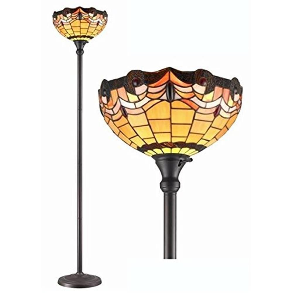Amora Lighting 71 25 In Tiffany Style Torchiere Jeweled Floor Lamp Am1047fl14 The Home Depot Torchiere Floor Lamp Tiffany Style Lighting Lamp